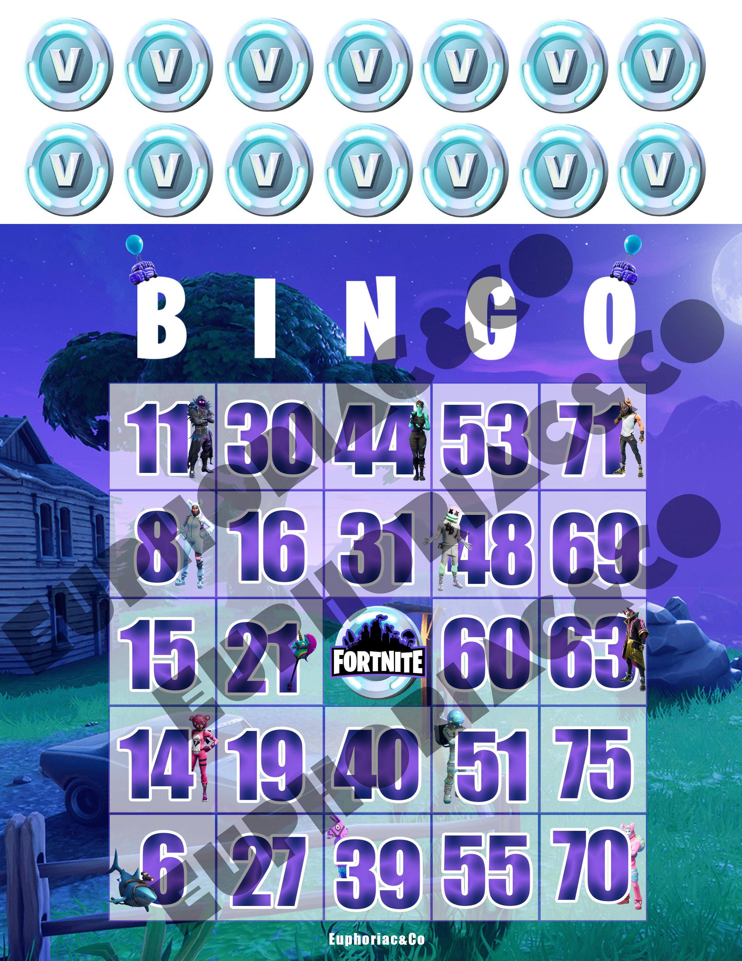 Fortnite Bingo Card Bingo Cards Football Party Bingo