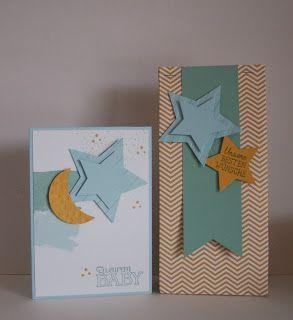 StampinUp!  Big Shot - Framelits Stern-Kollektion, Big Shot - Prägeform Streifen, Ein kleiner Gruß, Stampin'Up Designerpapier, Verpackung, zur Geburt, Mond&Sterne