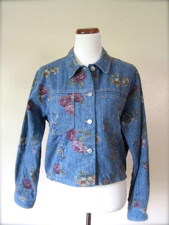 Vintage Floral Denim Jacket Size 16 80s90s Floral Print Jacket