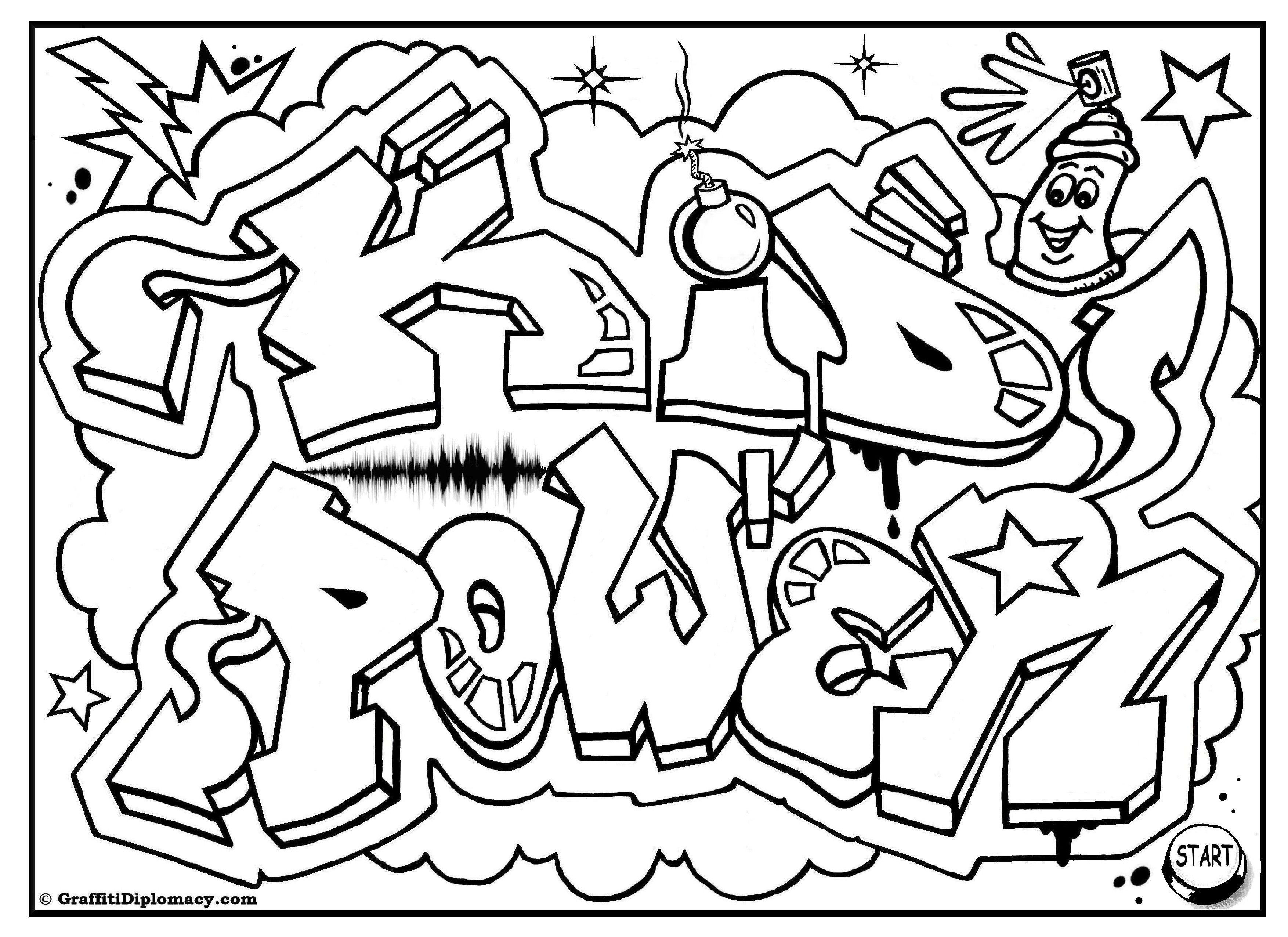 coloring graffiti pages online - photo#10