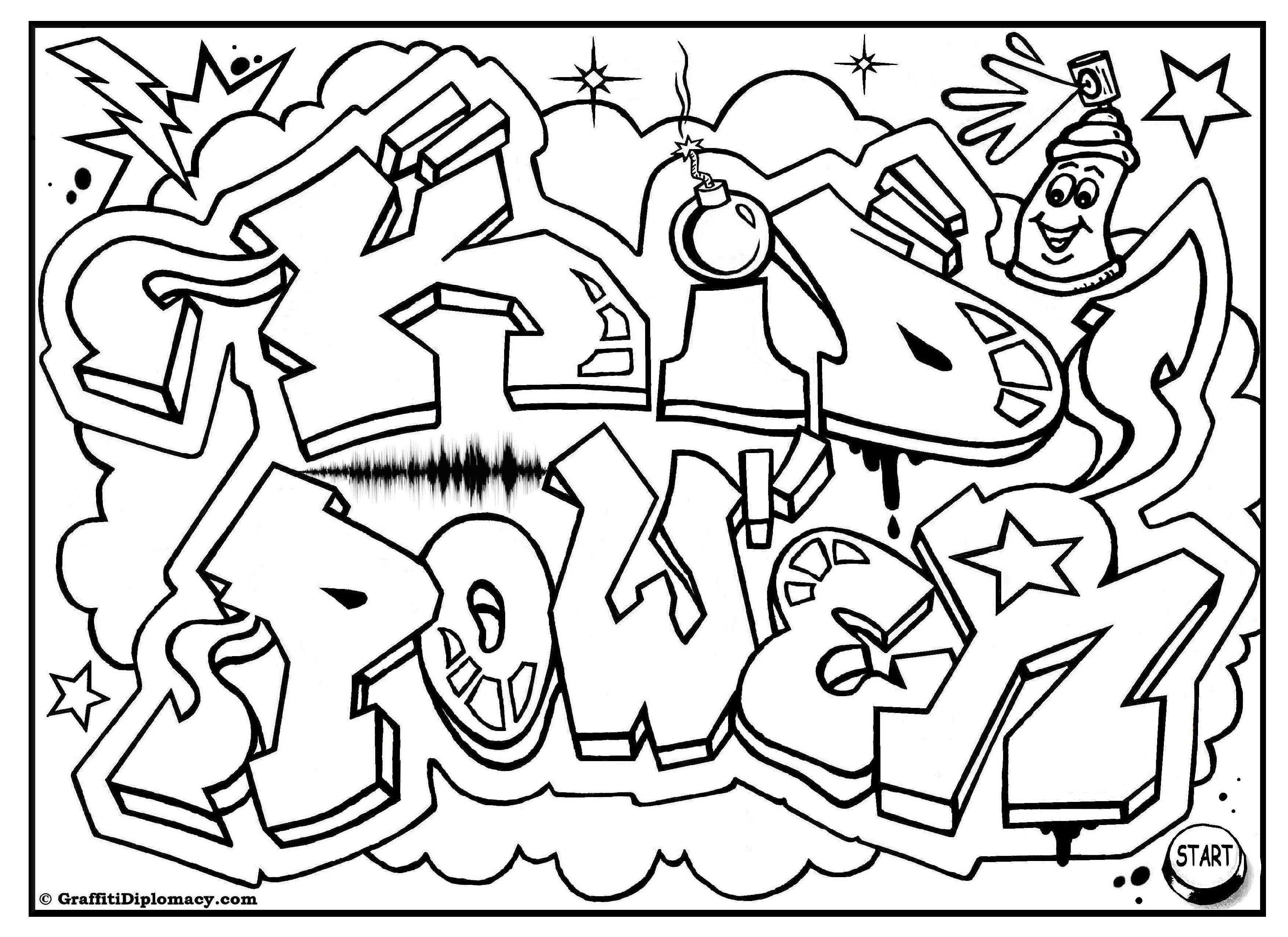 KID POWER free graffiti coloring page, free printable, colouring