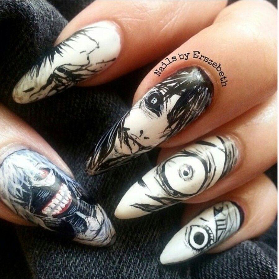 Tokyo Ghoul Nails Anime Nails Kawaii Nail Art Kawaii Nails