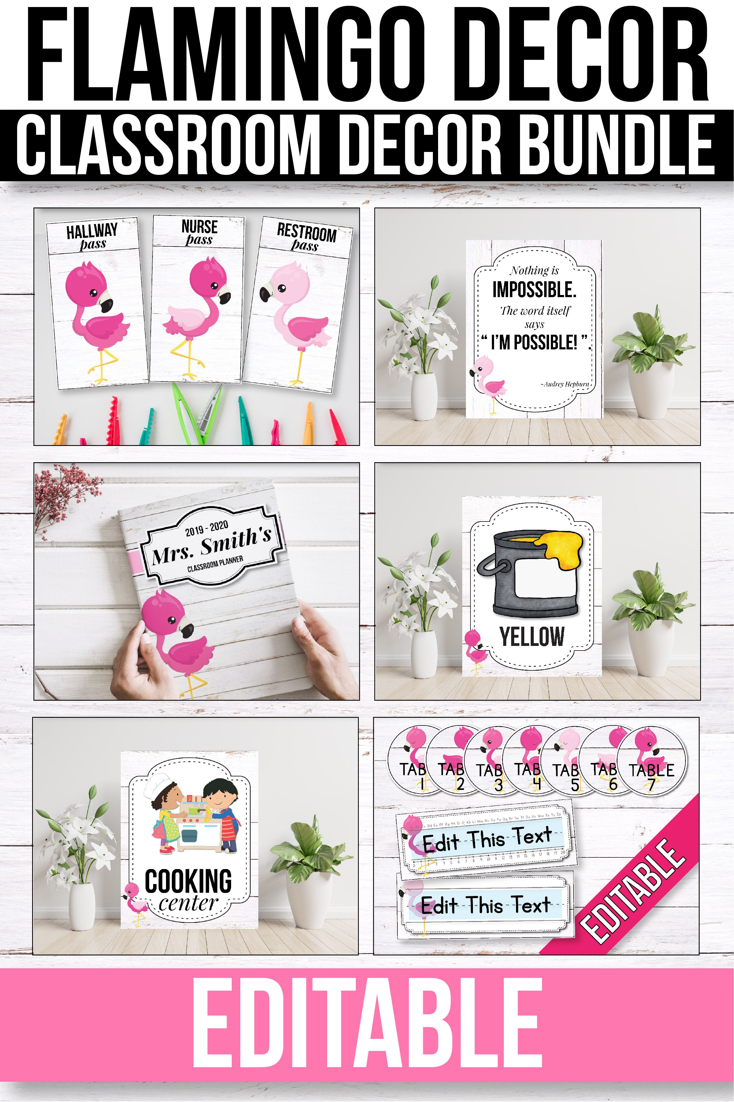 Flamingo Classroom Decor Bundle Editable Flamingo Themed