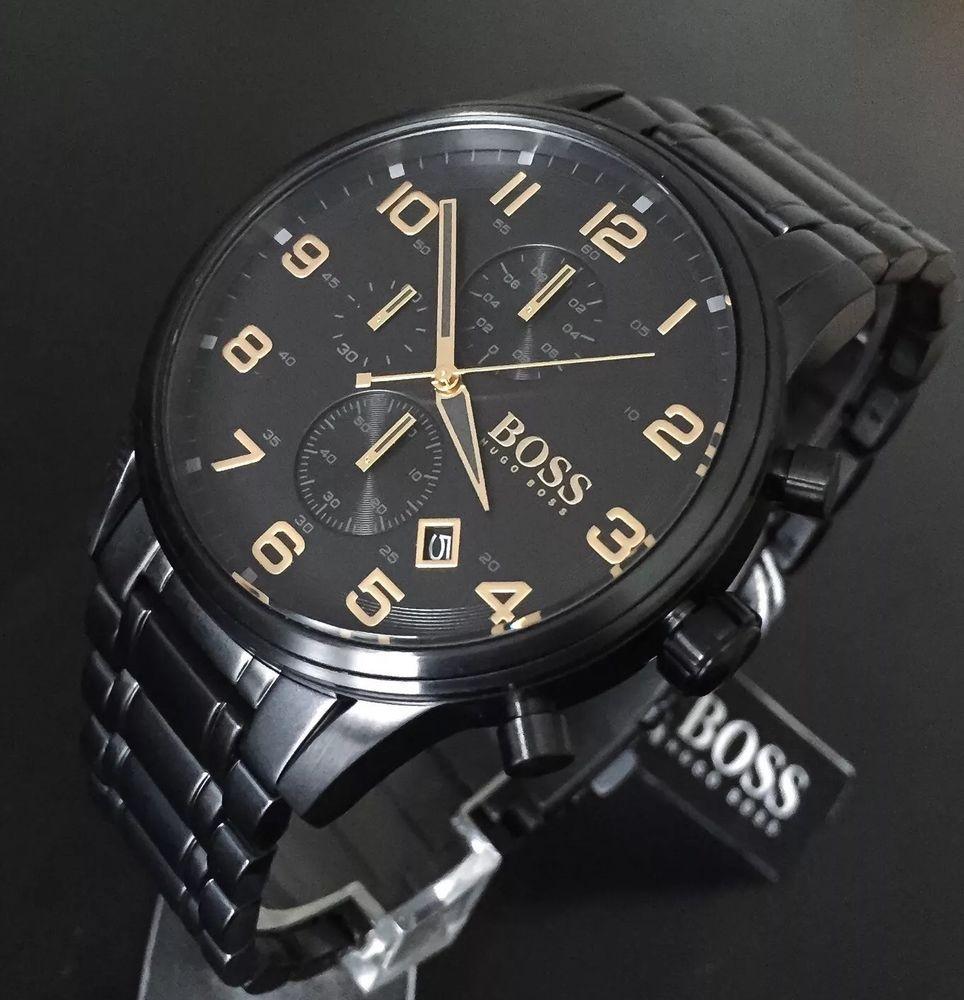 c509ac861 Hugo Boss Men s Gold Edition Black Aeroliner Chronograph Watch 1513275 RRP  £399