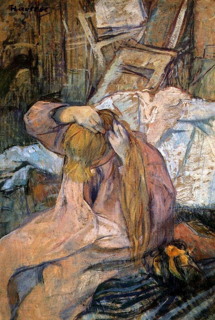 Woman Combing her Hair, Henri de Toulouse-Lautrec. French Post-Impressionist Painter, Printmaker (1864 - 1901)