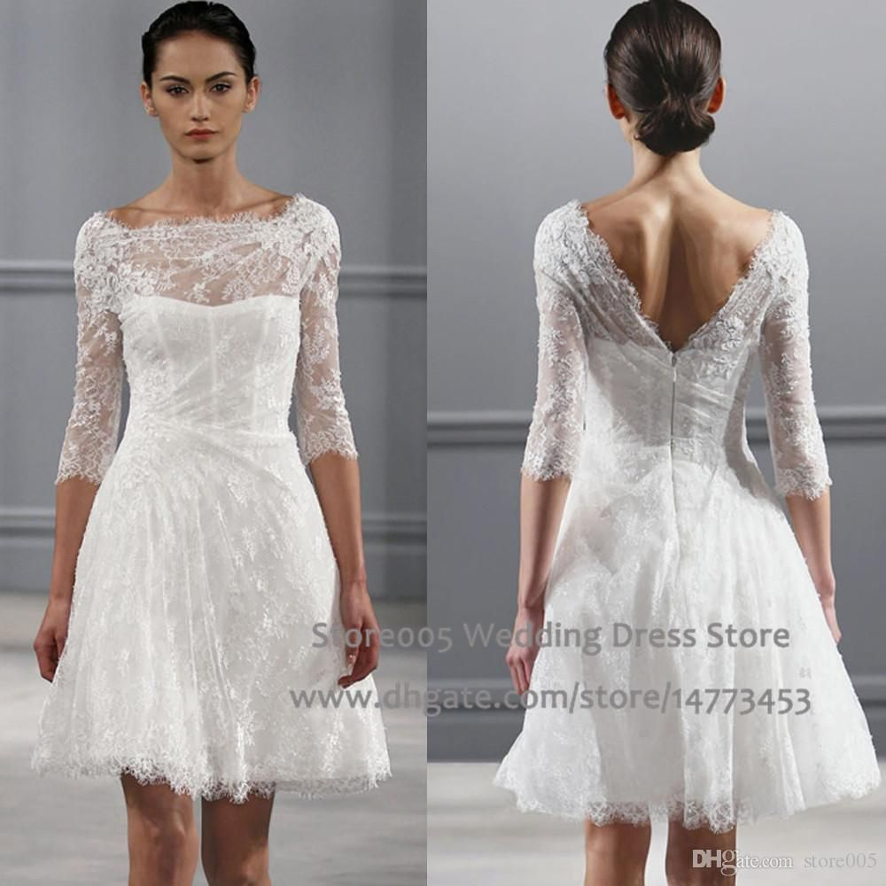 Short lace wedding dress with sleeves  Vintage White A Line Short Wedding Dresses Scoop V Back Lace Bridal