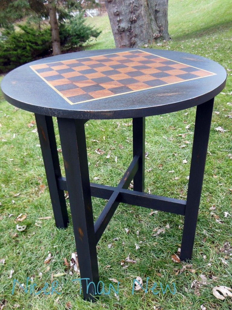 Tall Vintage Table Becomes A Chess / Checkers Table!