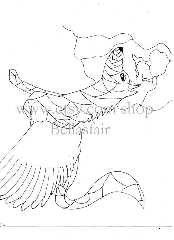 Hand Drawn Mythical Wolf coloring coloring page by Bellasfair