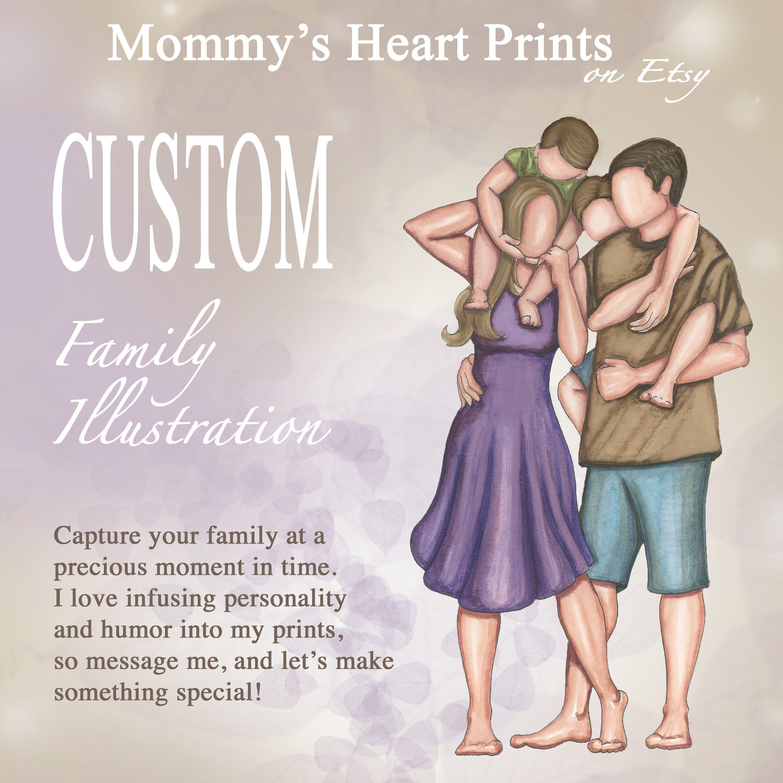 Custom Family Illustration Custom Family Portrait Motherhood Art Oo Custom Family Illustration Family Illustration Custom Portrait Illustration
