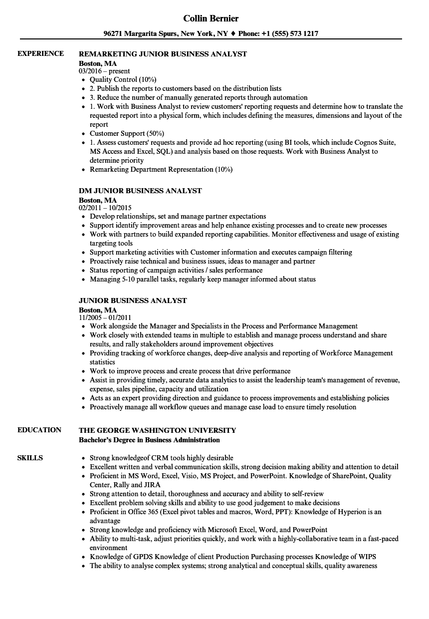 Junior Business Analyst Resume Business Analyst Business Analyst Resume Resume Summary Examples