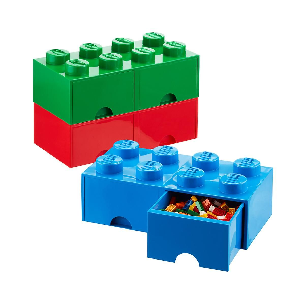 LEGO STORAGE BRICK 1 GREEN CHILDRENS TOYS STORAGE CONTAINER NEW