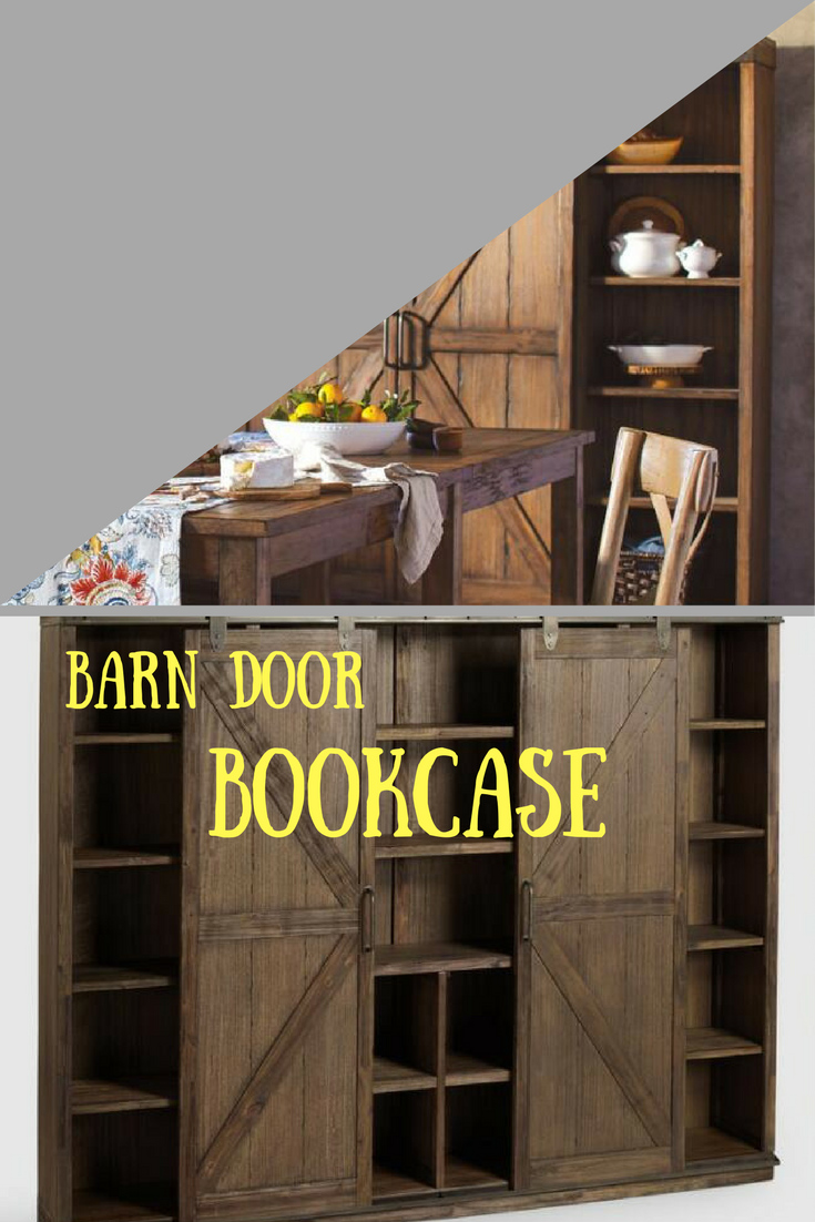The farmhouse barn door on this bookcase is pretty sweet