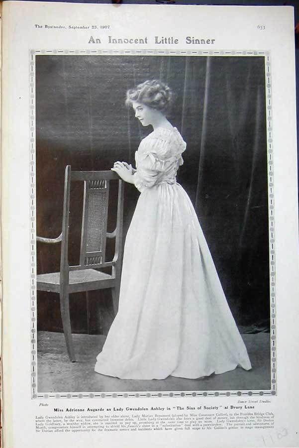 Adrienne Augarde | Antique Print 1907 Adrienne Augarde Ashley Drury Theatre Sins Society | eBay