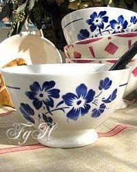 French Caf au Lait Bowl Le Fleur Blue