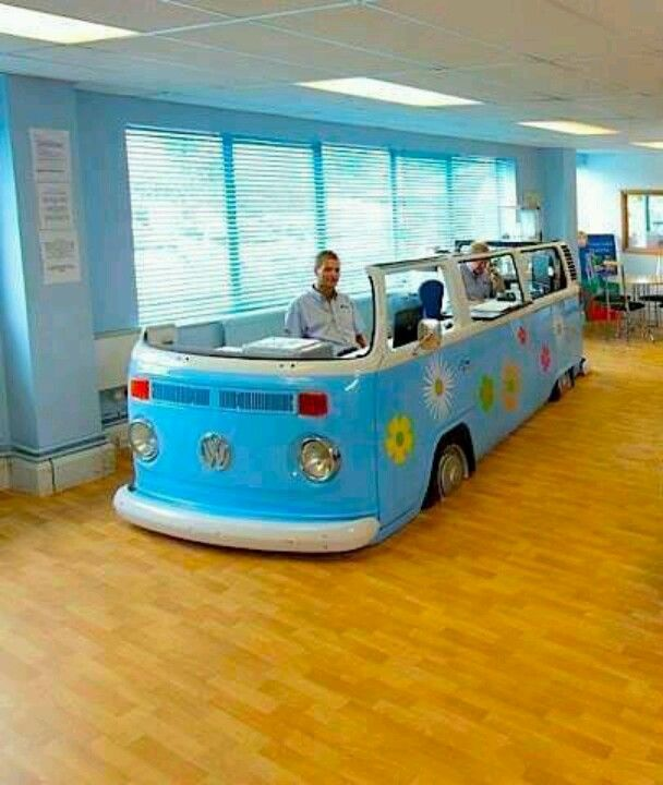 Swell Vw Bus Office Cubicle Or Reception Desk Automotive Squirreltailoven Fun Painted Chair Ideas Images Squirreltailovenorg