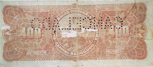 Pieza bbc400bs-aa01-c4 (Reverso). Billete del Banco Caracas. 400 Bolívares. Diseño A, Tipo A. Fecha Agosto 29 1910. Serie C4