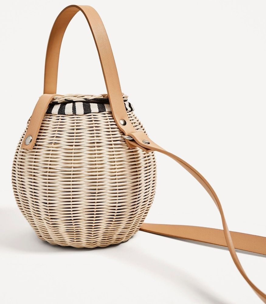 Nwt Zara Raffia Bucket Bag Womens Satchel Leather Ref 4408 204 Bloggers Clothing Shoes Accessories Women S Handbags Bags Purses