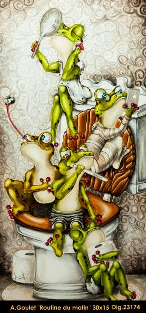 Original acrylic painting by Anouck Goulet #art #acrylicpainting #originalpainting #anouckgoulet #fineart #canadianartist #quebecartist #frogs #whimsical #multiart #balcondart