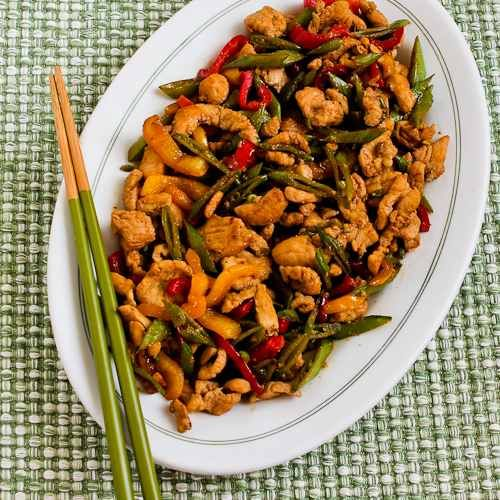 Stir Fried Turkey (or chicken) with Sugar Snap Peas and Peppers, from Kalyn's Kitchen.