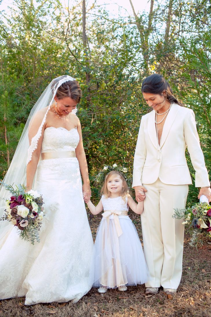 White Flower Girl Dress With Matching Ivory Sash Lesbian Wedding