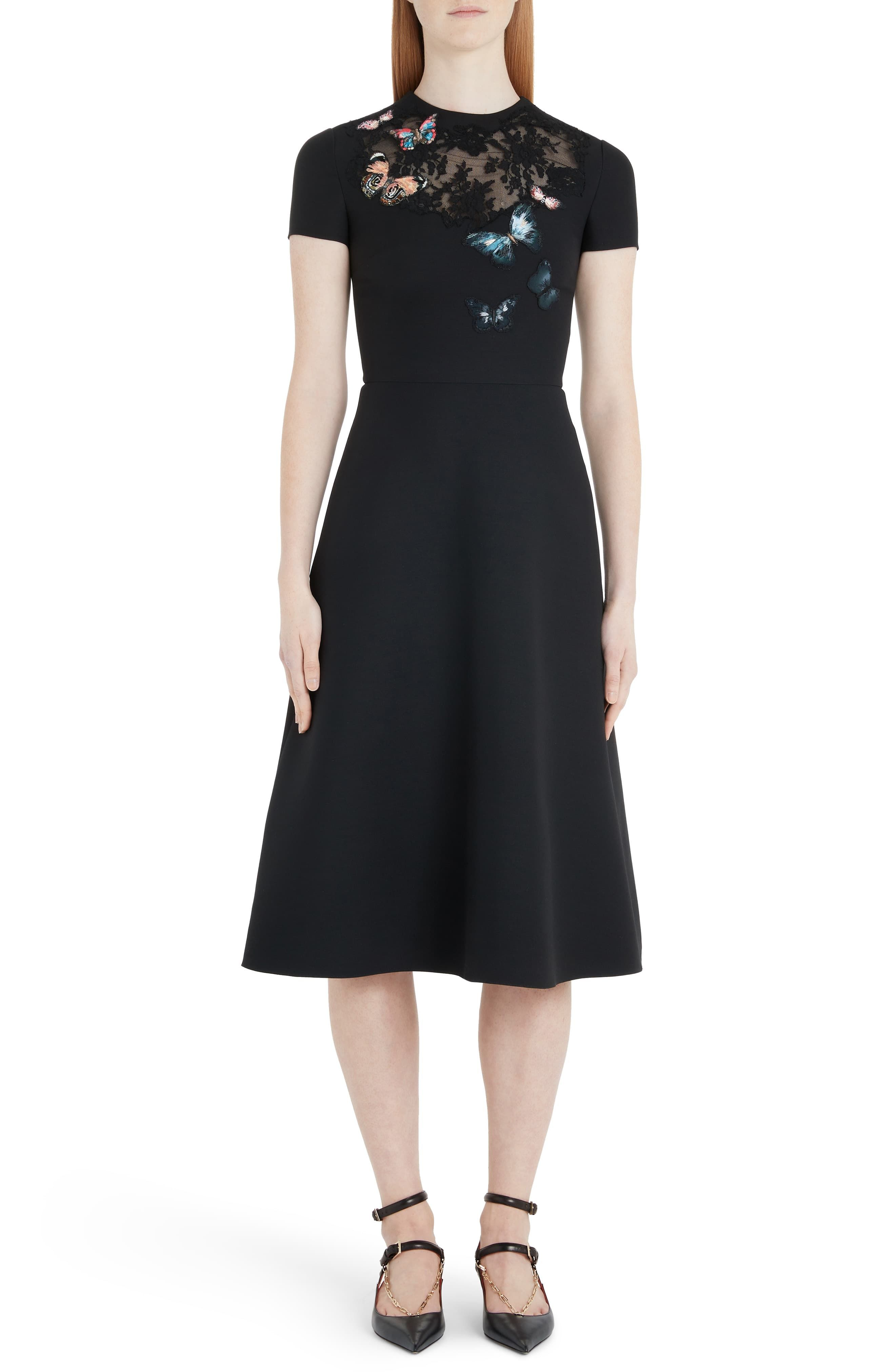 Women S Valentino Butterfly Embroidered Lace Panel Midi Dress Size 6 Us 42 It Black Fashion Clothes Women Dresses Long Sleeve Cocktail Dress [ 4048 x 2640 Pixel ]