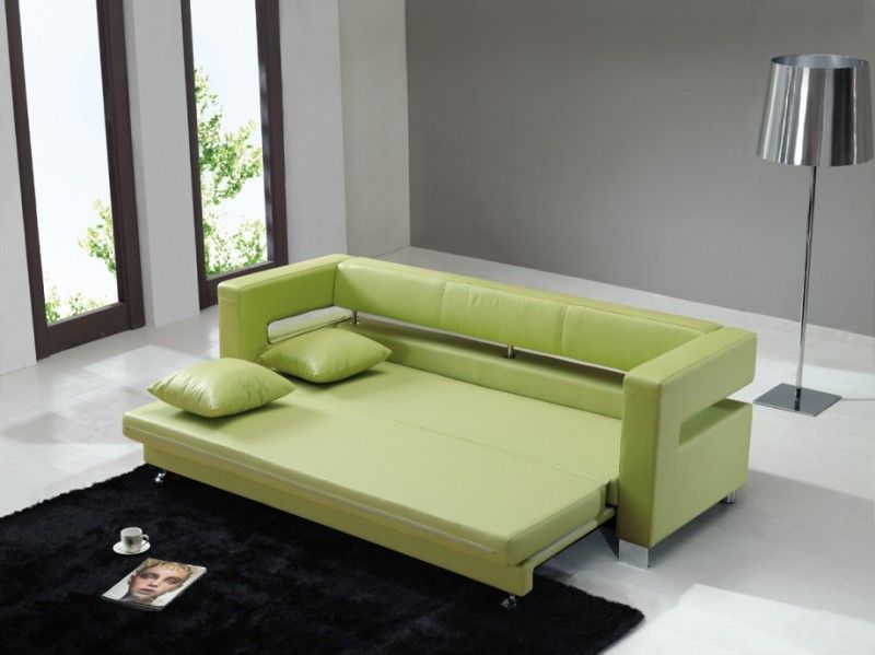 Unique Living Room Green Leather Sofa Bed Hominic Furniture