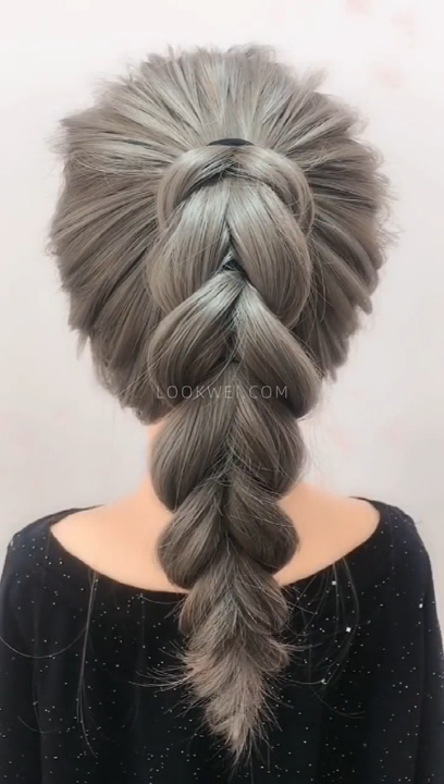 How to braid this high ponytail hairstyle?