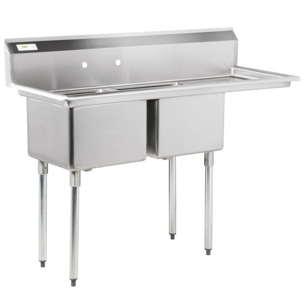 Right Drainboard Regency 57 16 Gauge Stainless Steel Two Compartment Commercial Sink With 1 Drainboard 17 X Commercial Sink Industrial Kitchen Design Sink