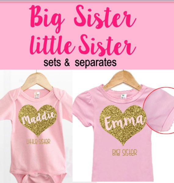2a63d88a3 Personalized Big Sister Little Sister Outfits Pink and Gold | sister ...