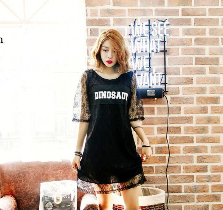 CD07055 Black sexy lace printing hollow patch short sleeve dress