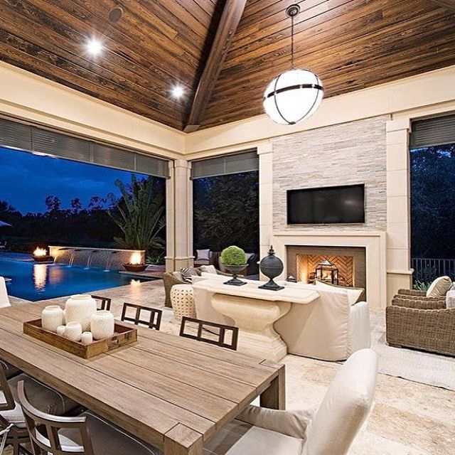 Amazing outdoor living/entertainment space by @marcmichaelsid! And that pool in the background looks amazing. #outdoorliving #outdoorentertaining #exteriordesign #interiordesign #beautifulhomes #homedecor #homedesign #dreamhome #decor #realestate #inspo #