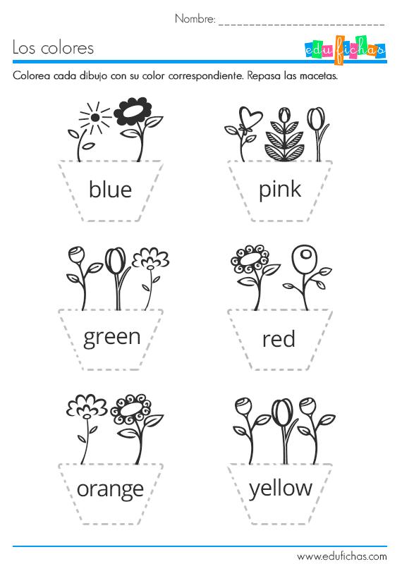 Ficha Infantil Para Aprender Los Colores En Inglés Edufichas Com Colores En Ingles Ingles Para Preescolar Ingles Basico Para Niños