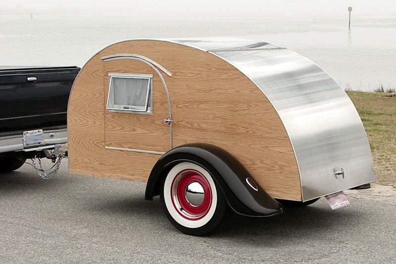 Aluminum Teardrop Trailers : Wood aluminum teardrop trailer with red rims and ford