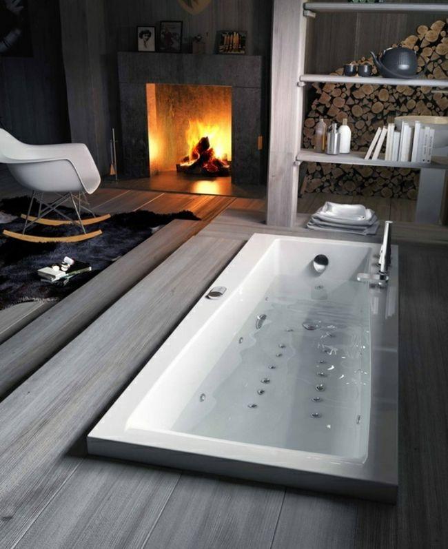 Badewanne Kamin Schaukelstuhl Möbelklassiker home Pinterest - wohnzimmer gemutlich kamin