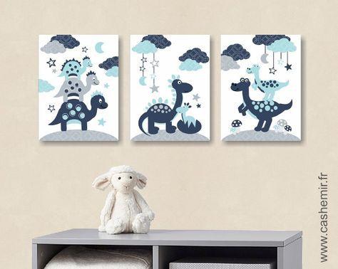 Lot de 3 illustrations pour chambre d\u0027enfant et bébé garçon bleu
