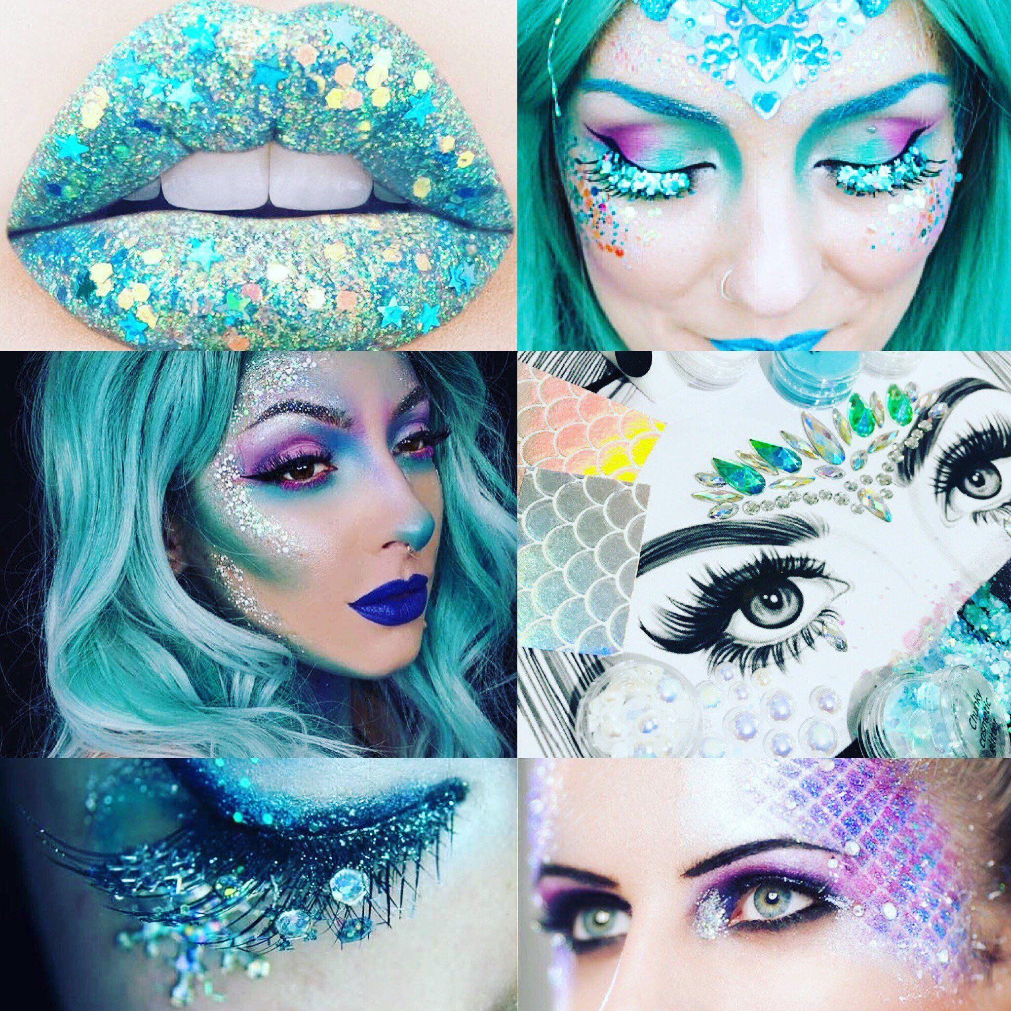Mermaid Costume Halloween Kit Complete Crystal Makeup Set Includes