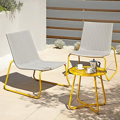 ventura 3 piece bistro grey and yellow home garden george at