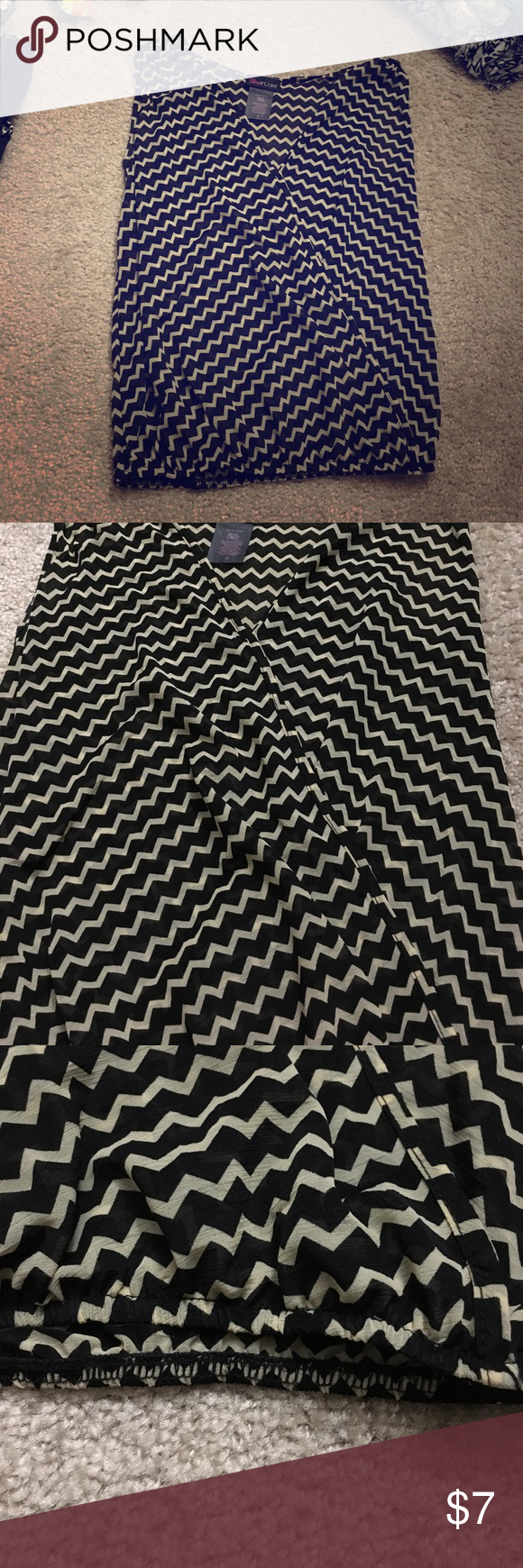FLOWY TANK TOP Black and Tan flowy tank top with a stretchy bottom. Says size XS but I'm a 34D and have no problem wearing it- fits comfortable Ultra Flirt Tops Tank Tops