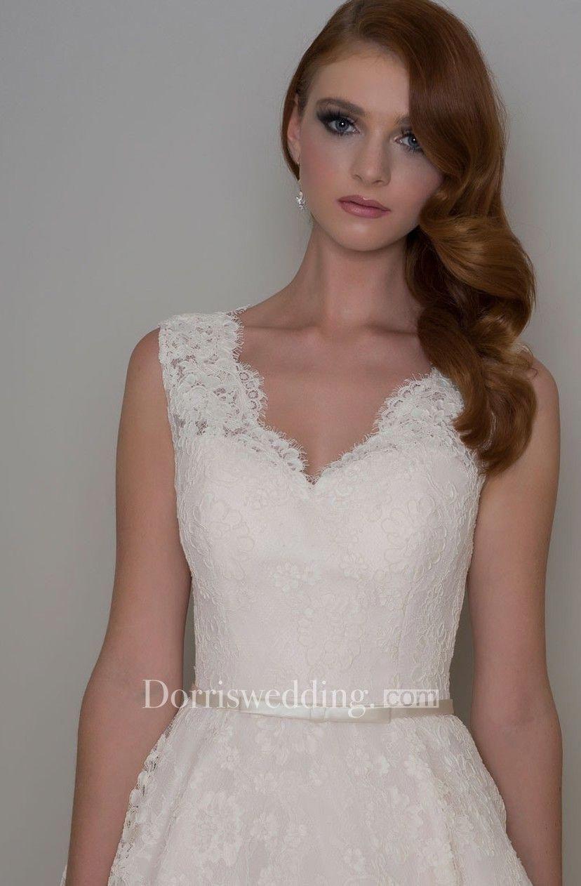 e52d6265e8e4 Tea-Length A-Line Appliqued V-Neck Sleeveless Lace Wedding Dress - Dorris  Wedding #vintageweddingdressestealength