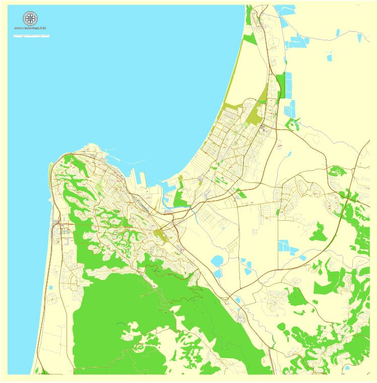 Printable map Haifa Israel exact vector map Adobe Illustrator
