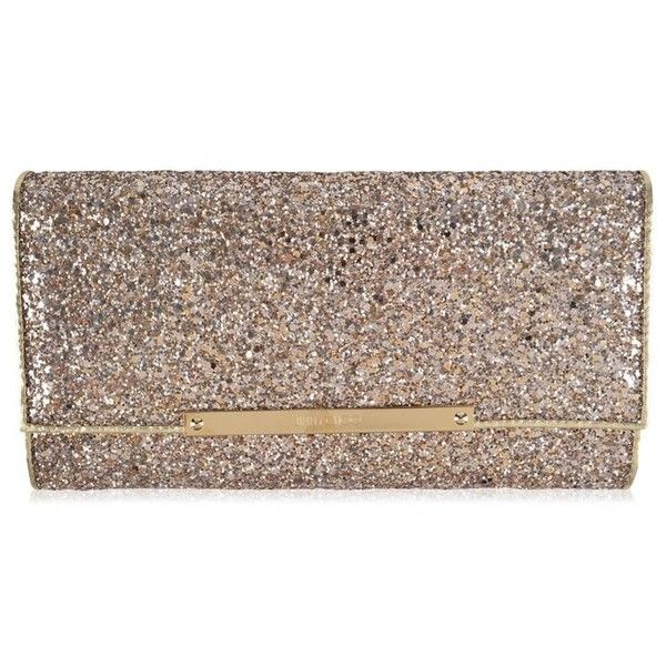 Jimmy Choo Marilyn Glitter Clutch Bag (£475) ❤ liked on Polyvore featuring bags, handbags, clutches, nude, brown leather handbags, evening handbags, genuine leather handbags, special occasion clutches and genuine leather purse