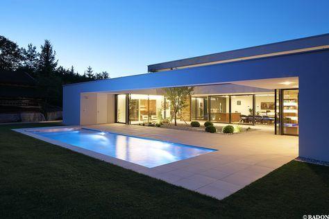Haus Mit Steinfassade einfamilienhaus pool flachdach steinfassade panoramafenster