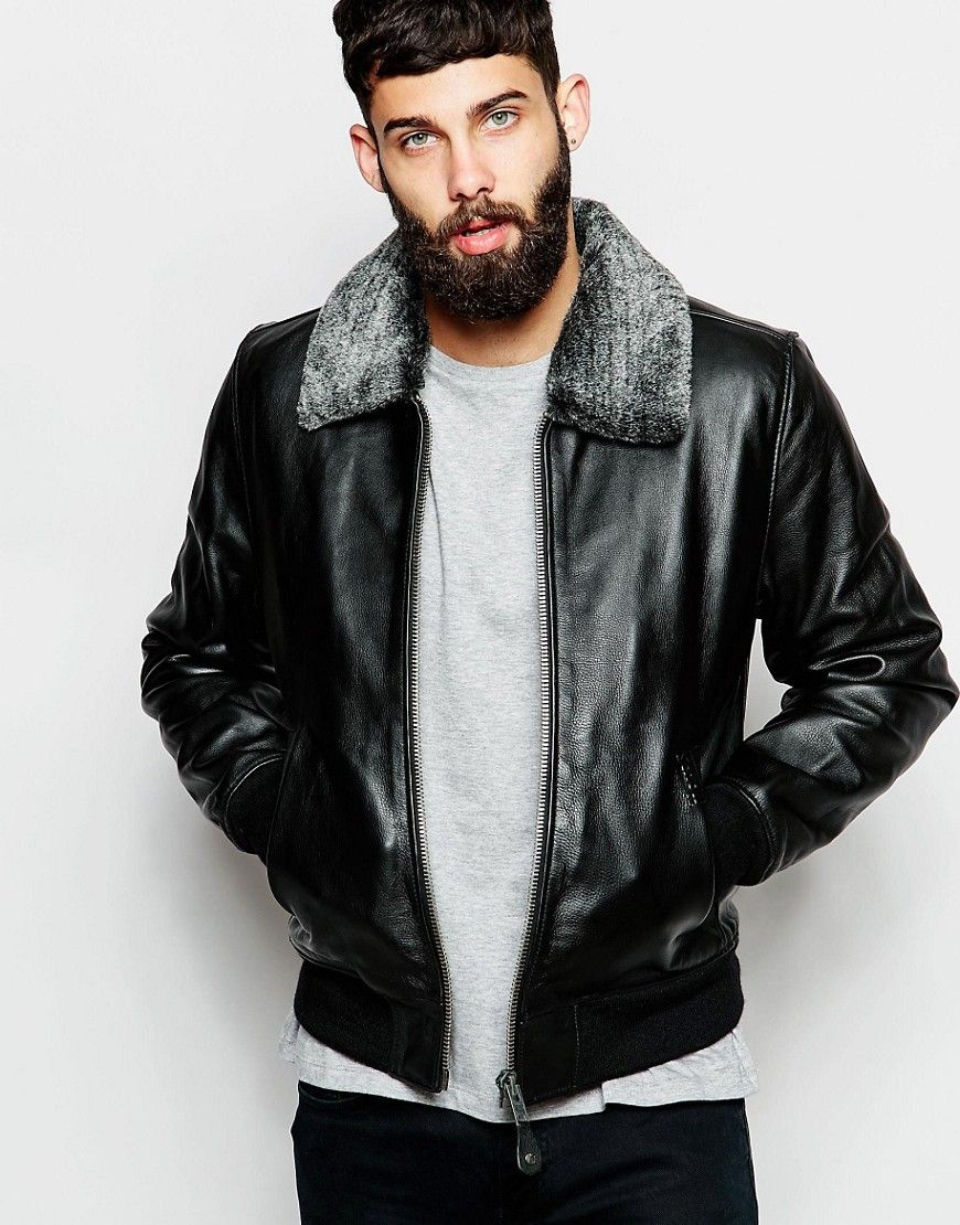 Super cool Schott Leather Bomber Jacket with Faux Fur Collar - Black Schott  Læder Jakker til - Super Cool Schott Leather Bomber Jacket With Faux Fur Collar