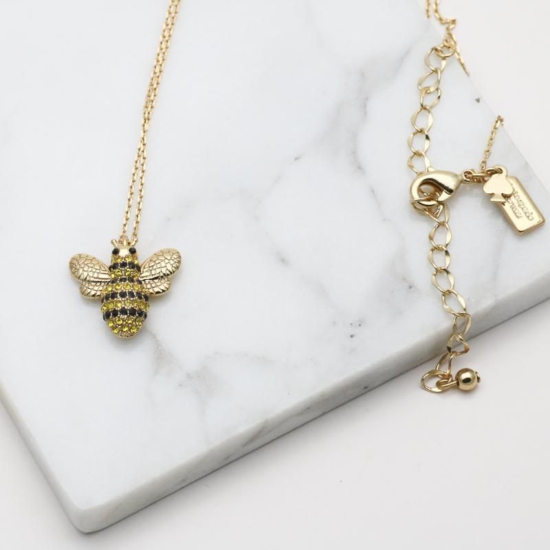 Picnic Perfect Pave Bee Pendant Necklace Bee Pendant Gold Necklace Necklace