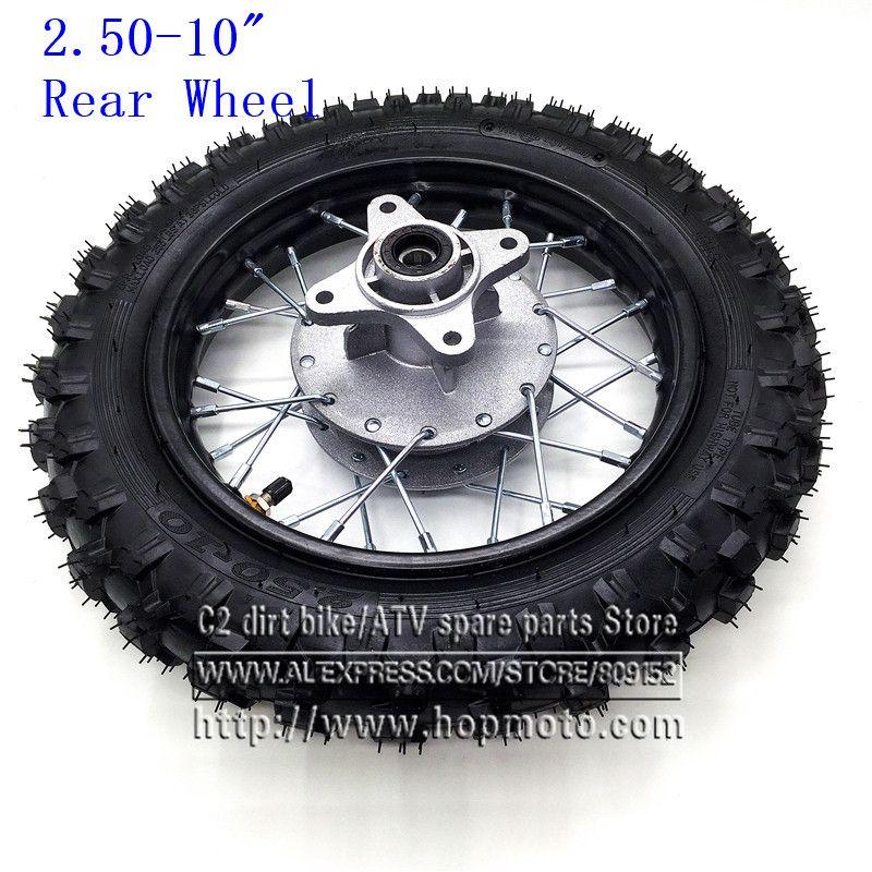 Rear 10 Inch Black Steel Wheel 2 50 10 Tyres 28 Spoke Rims Drum Brake Hub For Crf50 Dirt Pit Bike Motocro Dirt Bike Tires Black Steel Wheels Motorcycle Wheels