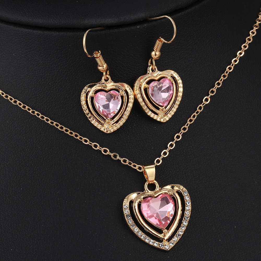 kinds of design jewelry set austrian crystal love heart pendant