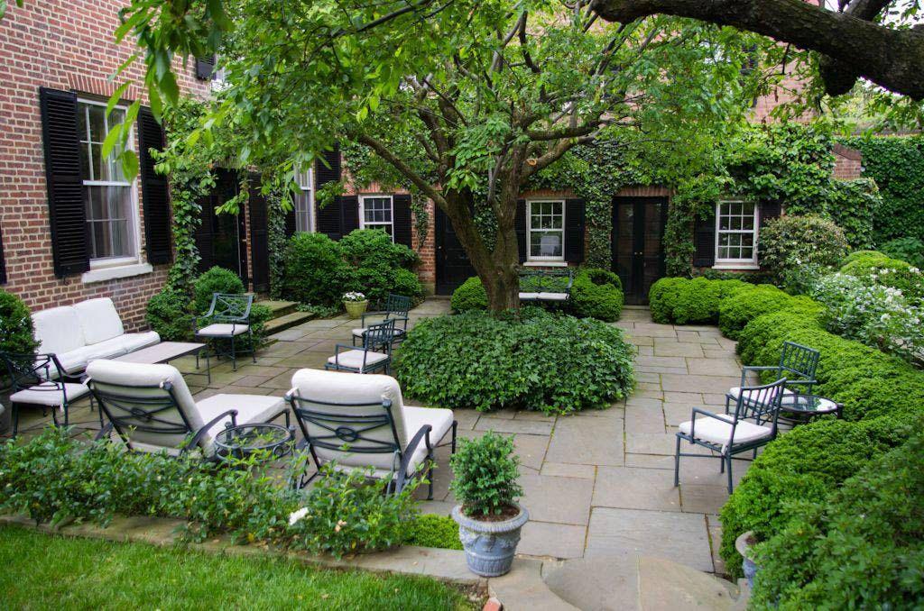 Specimen Tree Surrounded By Spacious Patio Garden Tours White House Garden Backyard Landscaping