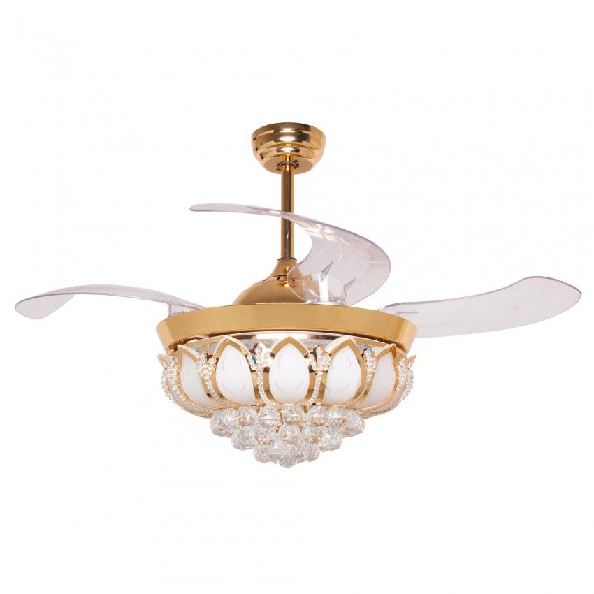 42 Inch Modern Led Crystal Chandelier Ceiling Fan With Lights And Remote Retractable Blades Gold Ceiling Fan Chandelier Ceiling Fan Ceiling Fan With Light