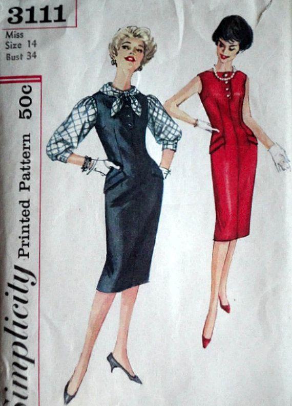 Vintage 50\'s Simplicity 3111 Sewing Pattern Misses\' | Vintage Sewing ...