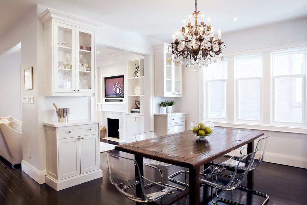 Admirable Rustic Dining Room Design With Dining Chairs With Rustic Dining  Table And Crystal Chandelier Also White Cabinets And Dark Wood Floors With  Window ... Part 63